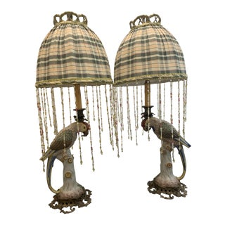 Bronze Mounted Parrot Lamps with Beaded Shades - a Pair For Sale