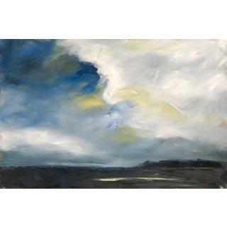 """Approaching Storm"" Abstracted Landscape Oil Painting on Linen in Blue, Yellow For Sale"