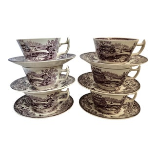 20th Century Shabby Chic Royal Staffordshire Tonquin Cup/Saucers - 12 Pieces