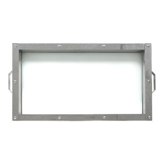 Modern Sheffield Stainless Steel & Glass Serving Tray For Sale