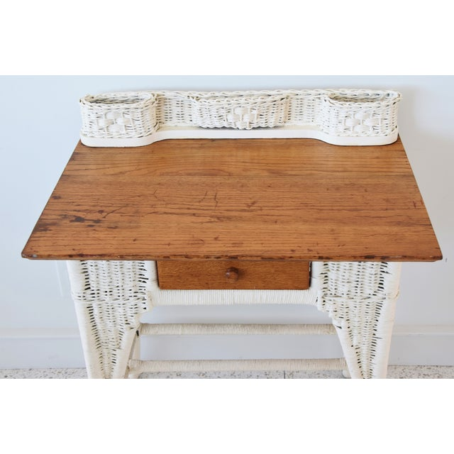Antique Painted Wicker & Oak Writing Desk Table For Sale - Image 4 of 13