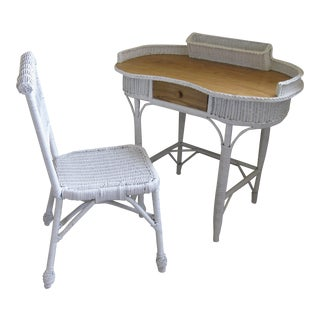 Vintage Wicker Ladies' Desk & Chair - A Pair