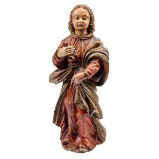 18th Century Spanish Hand Carved Polychromed Saint Statue For Sale