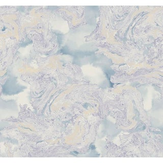 Abstract Wallpaper in Icy Blue With Splashes of Gold and Hints of Shimmer - 1 Double Roll For Sale