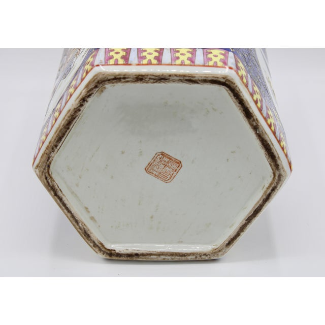 Large Antique Chinese Enamel Ceramic Vase For Sale - Image 10 of 13