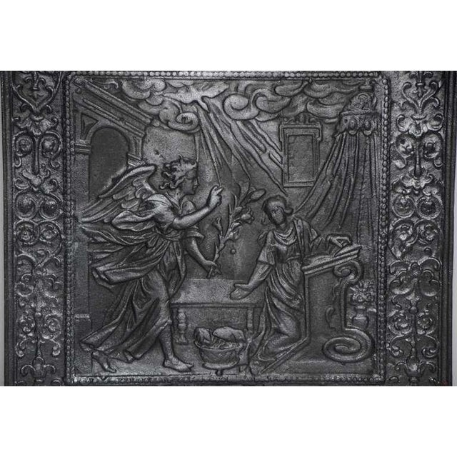 Religious 17th C. Antique Fireback Annunciation To The Blessed Virgin Mary For Sale - Image 3 of 6