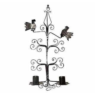 Black Metal Bird-Designed Wall Sconce For Sale
