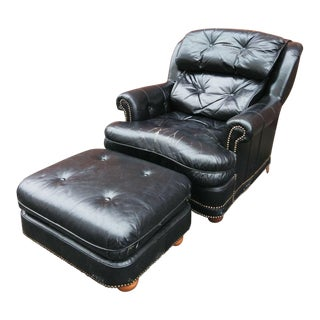 Vintage Leathercraft Chair and Ottoman For Sale