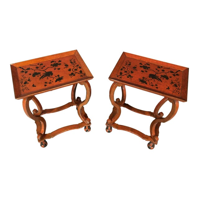 Lacquered and Painted Tray Top Side Tables - a Pair For Sale