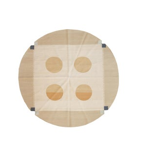 "Vintage Contemporary Kilim Round Carpet - 6'6"" X 6'8"" For Sale"