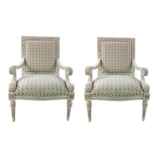 Ferguson Copland White Carved Wood Occasional Chairs Pairs For Sale