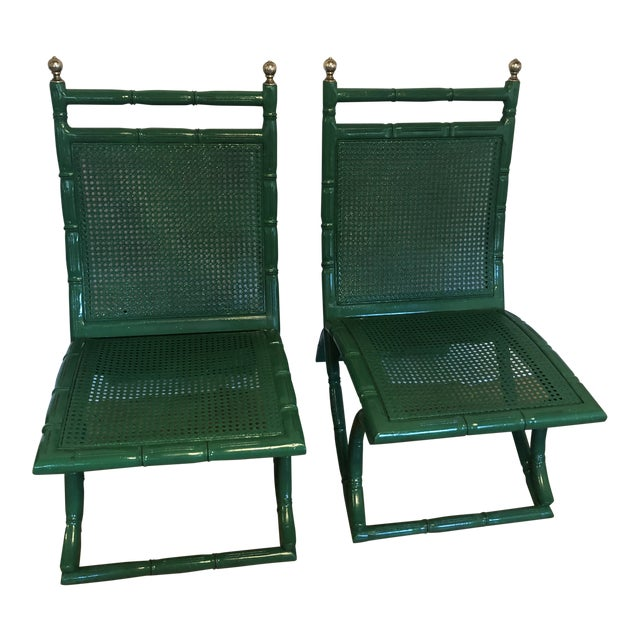 Campeche Green Faux Bamboo Chairs - a Pair For Sale