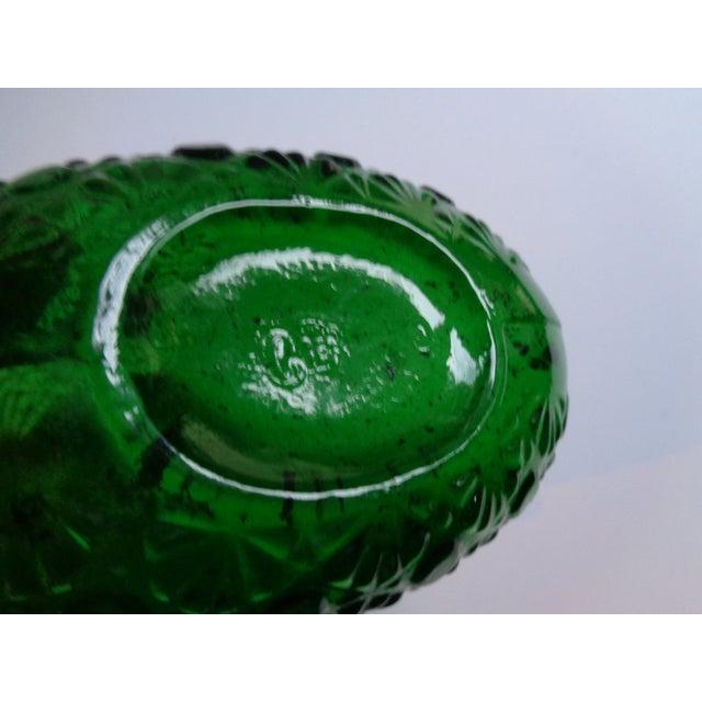 Vintage Clevenger Bros Green Glass 'Flowers' Vase For Sale - Image 4 of 5