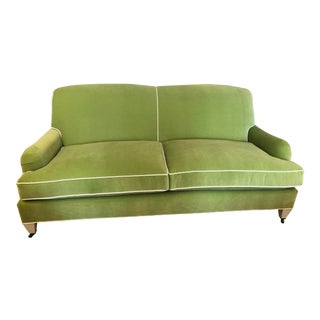 Green Velvet Traditional English Arm Sofa For Sale