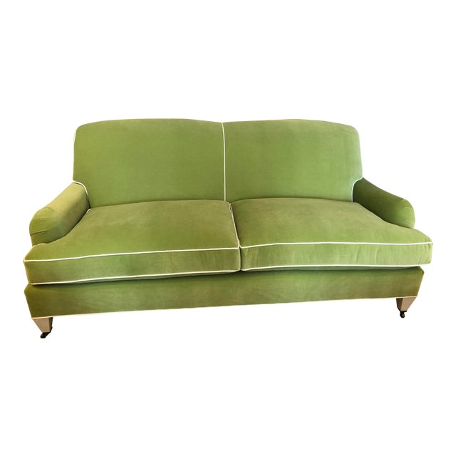Green Velvet Traditional Low Profile Arm Sofa For Sale