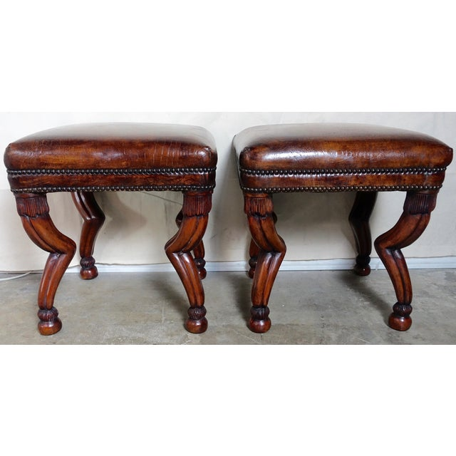 Brown Leather Embossed Gazelle Benches, Pair For Sale - Image 8 of 8
