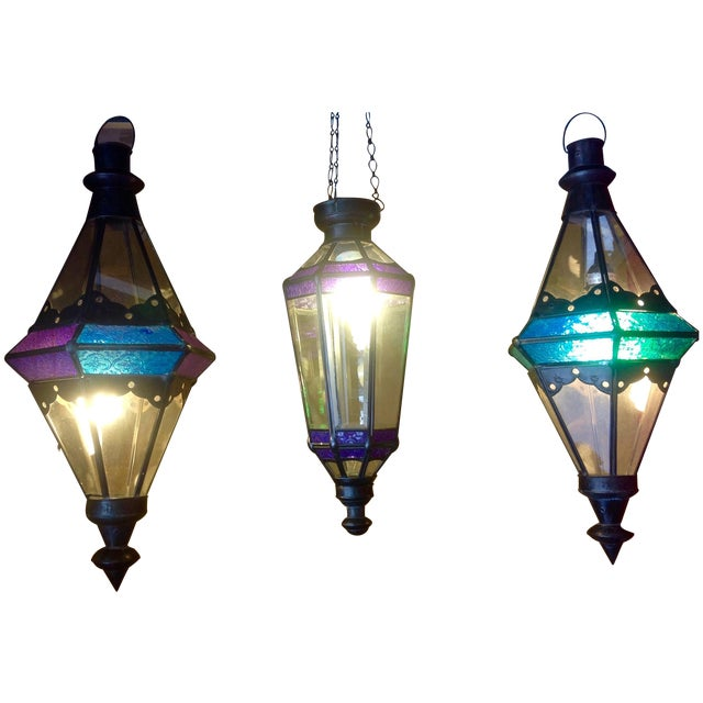 Boho Chic Stained Glass Pendant Lamps - Set of 3 - Image 1 of 6