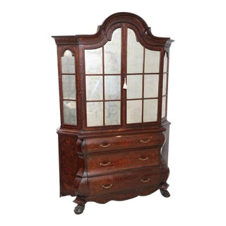 Antique 1780s Dutch Marquetry Bookcase / Display Cabinet For Sale