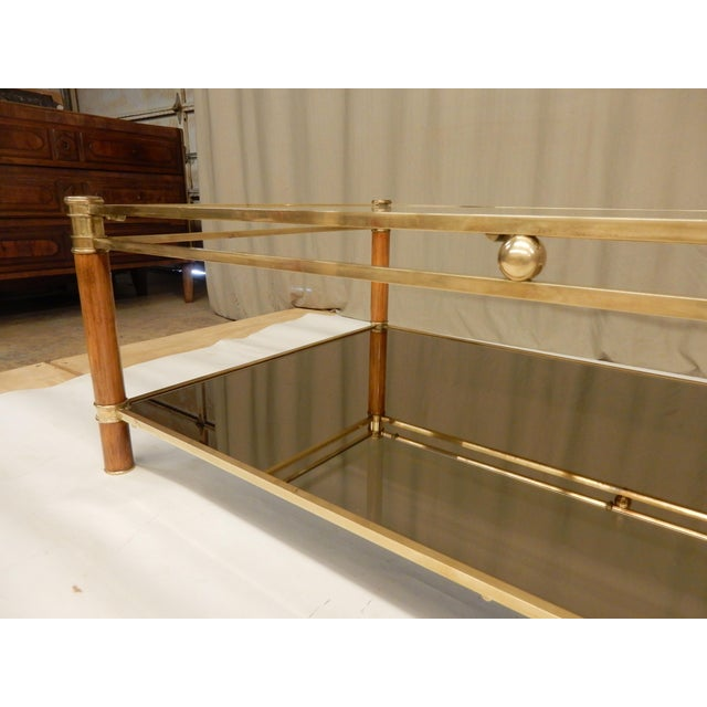 Mid-Century Glass, Mirror, Brass and Wood Coffee Table For Sale In New Orleans - Image 6 of 9
