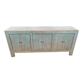 Distressed Blue Gansu Storage Cabinet For Sale