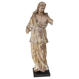 Early Hand-Carved Italian Statue For Sale