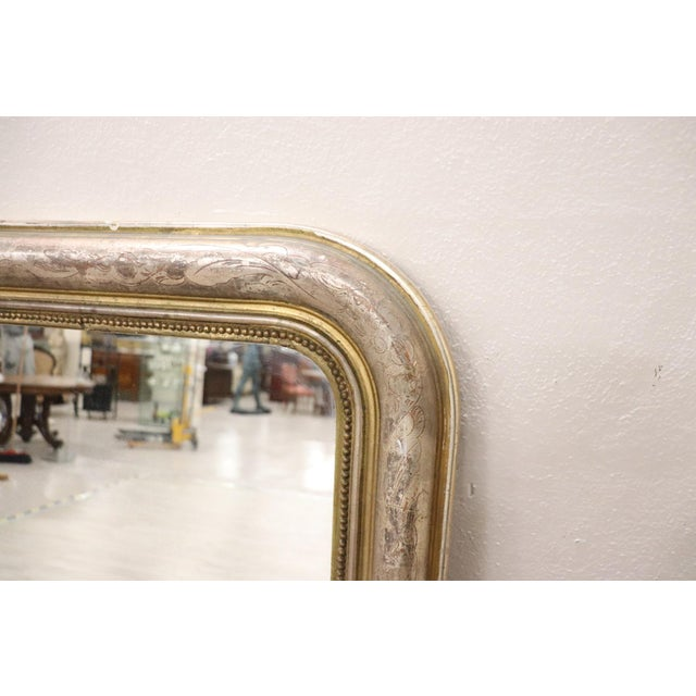 Gold 19th Century Italian Golden and Silver Wood Antique Wall Mirror For Sale - Image 8 of 13