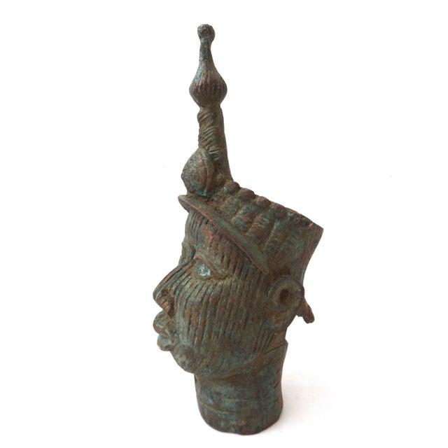 Benin Bronze Brass Head of Oba Nigeria African - Image 4 of 7