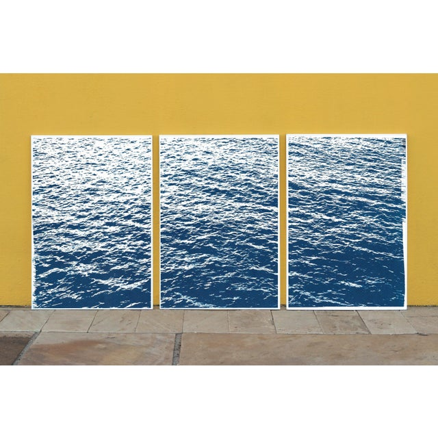 Abstract Bright Seascape in Capri, Navy Cyanotype Triptych 100x210 Cm, Classic Blue Edition of 20. For Sale - Image 3 of 11