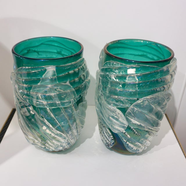 Glass Italian Modern Iridescent Emerald Green Murano Glass Sculpture Vases - a Pair For Sale - Image 7 of 12