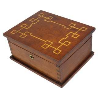 1907 Traditional Cherry Wood Sewing Box For Sale
