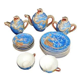 Satsuma Moriage Dragon Motif Lithophane Tea Set For Sale