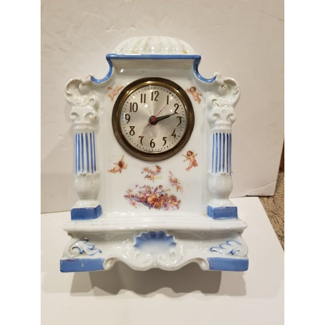 Decorative Antique Porcelain Clock With Cherubs For Sale - Image 10 of 10