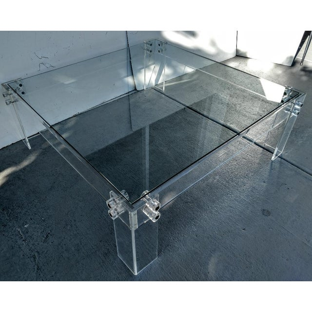 Industrial Lucite Square Cocktail Table With Glass Top, Vintage For Sale - Image 3 of 8