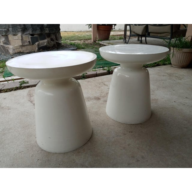 Mid Century Off White Aluminum Stools - a Pair For Sale - Image 4 of 7