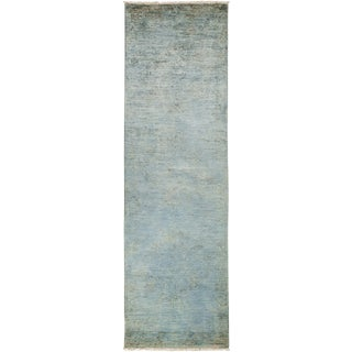 """Vibrance Blue Hand Knotted Runner - 3'0"""" X 9'9"""""""