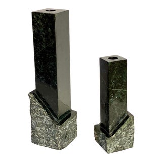 1980s Modernist Black Polished and Raw Marble Candlesticks – a Pair For Sale