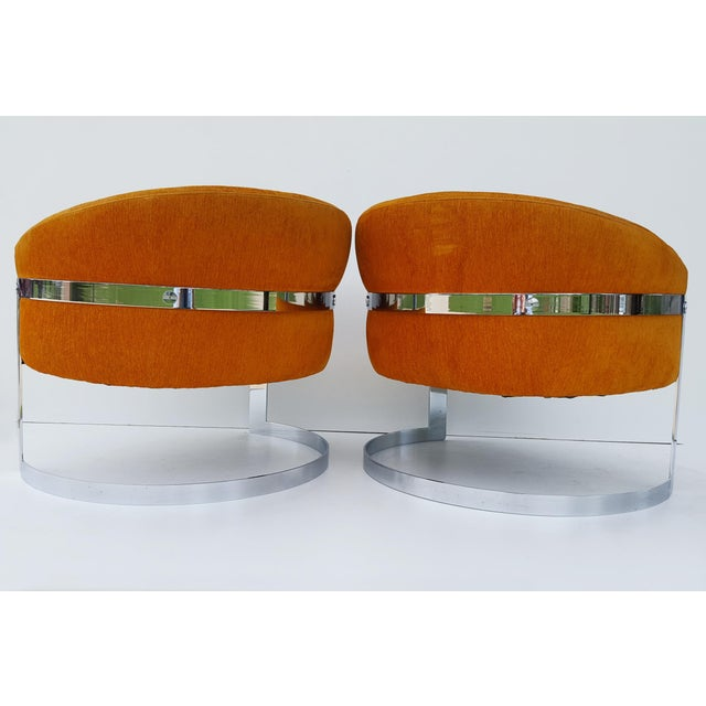 Mid-Century Modern 1960s Vintage Milo Baughman Barrel Back Chairs - A Pair For Sale - Image 3 of 8