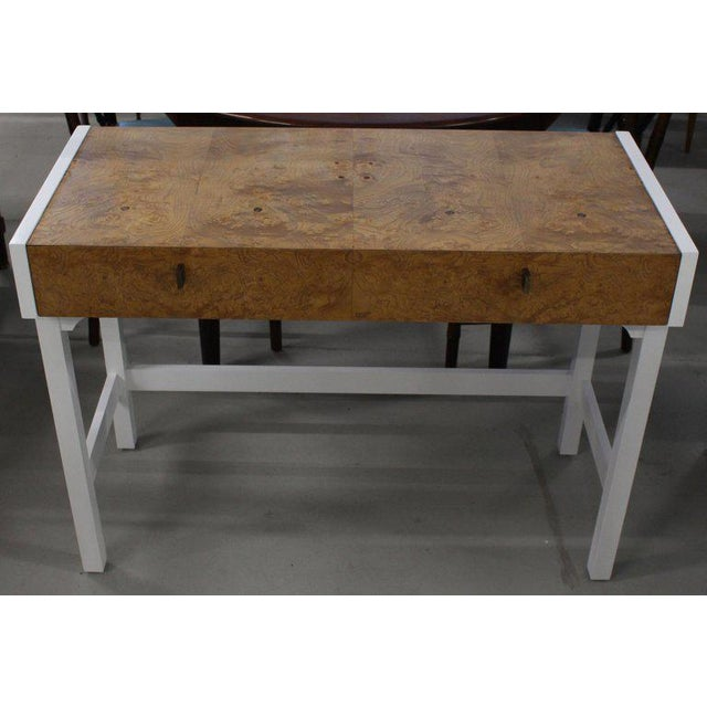 Burlwood White Lacquer Burl Wood Top Petit Desk Console Hall Table For Sale - Image 7 of 7