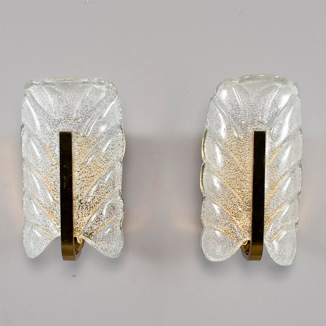 Fagerlund for Orrefors Glass and Brass Leaf Form Sconces - a Pair For Sale - Image 9 of 9