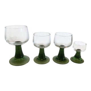 Mid-Century Green Beehive Stem Cordials- Set of 4