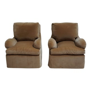 Dessin Fournir Velvet Swivel Lounge Chairs-A Pair For Sale