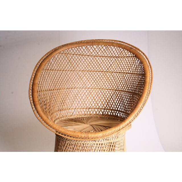 Tan Vintage Boho Chic Wicker Pod Chair For Sale - Image 8 of 11