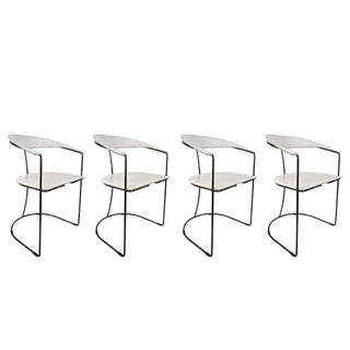 Set of Four Italian White Leather Chairs With Gunmetal Frames by Arrben, 1980s For Sale