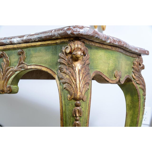Antique Painted & Parcel Gilt Louis XV Style Console Table With Marble Top For Sale - Image 4 of 12