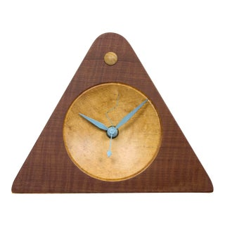1980s Post Modern Wooden Mantle Clock For Sale