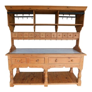 English Georgian Style Pine Marble Top Work Table 2pc Kitchen Island For Sale