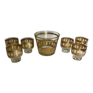 Culver Ltd Mid-Century Modern Gold Embossed Glasses and Ice Bucket - Set of 7 For Sale