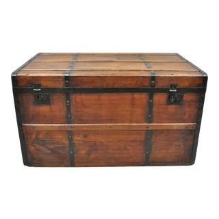 Antique Primitive Rustic Wood and Metal Blanket Chest Storage Trunk For Sale