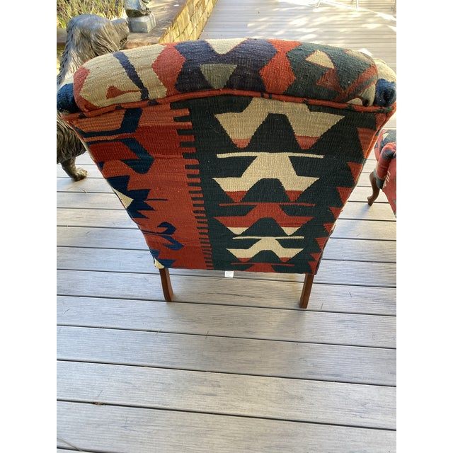 Kilim Wingback Chairs - a Pair For Sale In Raleigh - Image 6 of 13