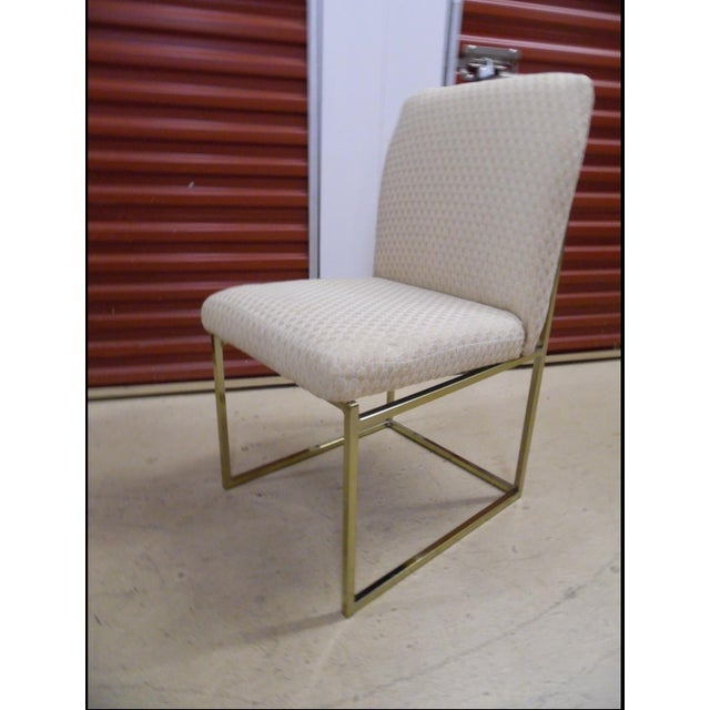 Milo Baughman-Style Brass Dining Chairs - Pair - Image 5 of 6